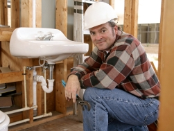Sherman CT plumbing contractor installing sink